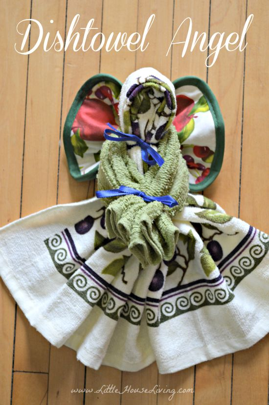 Looking for an easy and frugal homemade gift idea? Learn how to make a Dish Towel Angel with this step by step picture tutorial! #homemadegifts #simpleChristmas #frugalgifts #dishtowelangel #diy