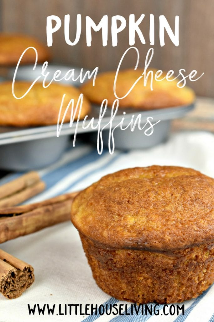 Make your own Pumpkin Cream Cheese Muffins. You'll love these soft pumpkin muffins with a deliciously creamy cream cheese filling! #homemademuffins #muffinrecipe #pumpkinrecipe #pumpkincreamcheese
