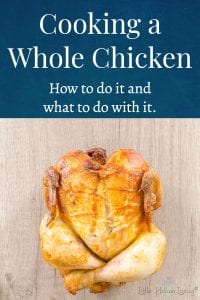 """Need to make the most out of one of the most frugal """"cuts"""" of chicken? Here's an excellent blog post on how to easily cook a whole chicken and what to do with it to make the most of it once it's cooked. #wholechicken #chicken #eatchicken"""