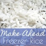 How to always keep cooked rice on hand! This method of making freezer rice is so simple and easy. Perfect for quick meals! #freezerrice #freezermeals
