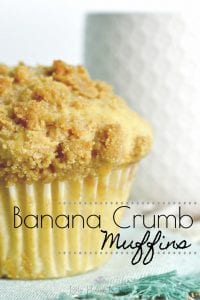 This deliciously simple recipe for Banana Crumb Muffins is sure to have your tastebuds watering. #bananamuffins #crumbmuffins