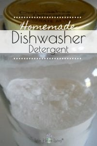 """Looking to make your own homemade dishwasher detergent? It can be expensive to buy the """"natural"""" versions at the store, so below you will find my simple, 3 ingredient alternative! #dishwasherdetergent #homemadedishdetergent #dishwashersoap"""