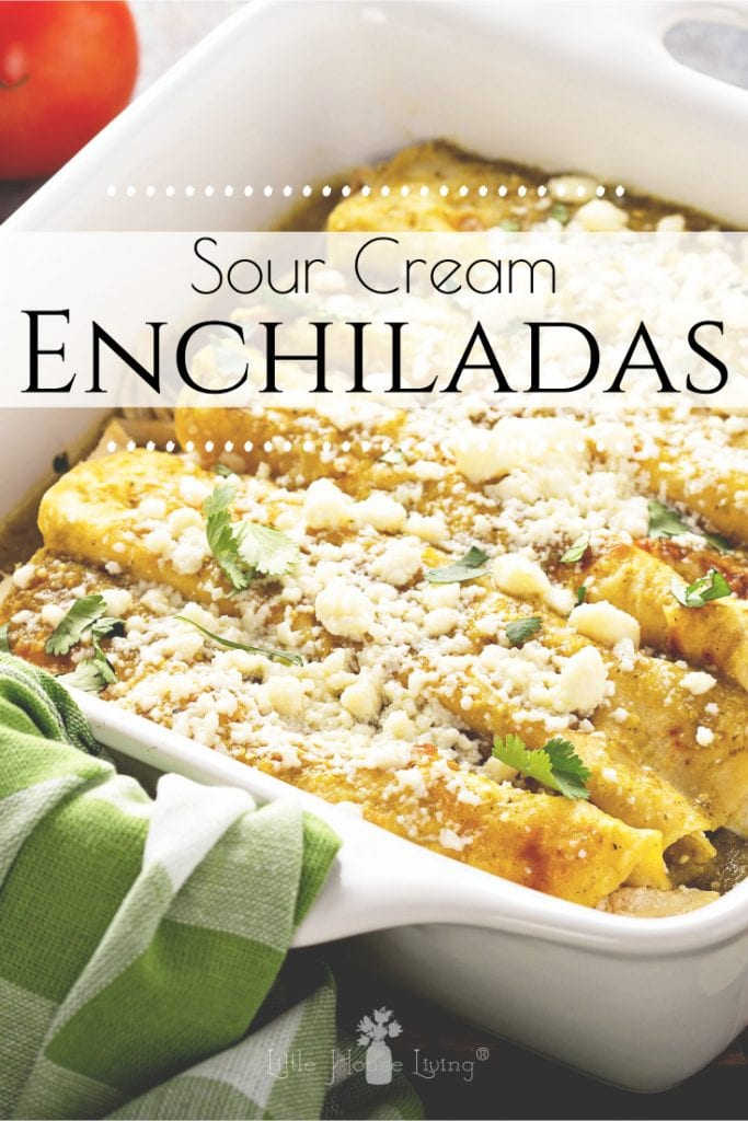 I love a good, simple dish that uses easy, on-hand ingredients and has the ability to warm up your tummy, like this yummy Sour Cream Enchiladas Recipe. #enchiladas #sourcreamenchiladas #homemadeenchiladas #whatsfordinner #glutenfree