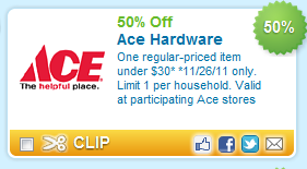Post image for 50% One Item at Ace Hardware!