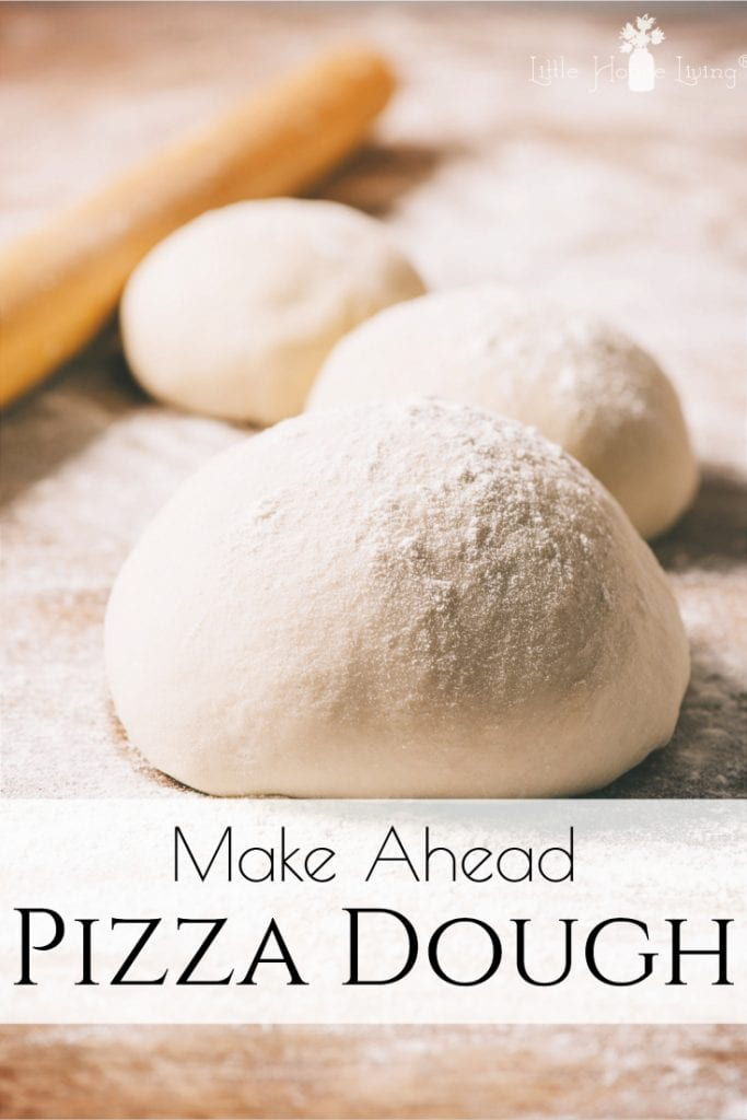 This easy, make ahead pizza dough can be frozen so that you have a delicious and quick dough on hand anytime you decide you want to enjoy your favorite pizza. #pizzadough #freezerdough #makeaheadmeals #freezermeals