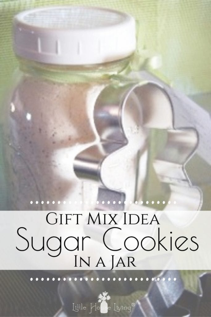 I love homemade mixes! This recipe for Sugar Cookies in a Jar is no exception. It's perfect to have on hand to make a quick batch of cookies or to give as a gift! #sugarcookies #sugarcookiesinajar #cookiemixinajar #giftideas #homemadegifts #simpleChristmas