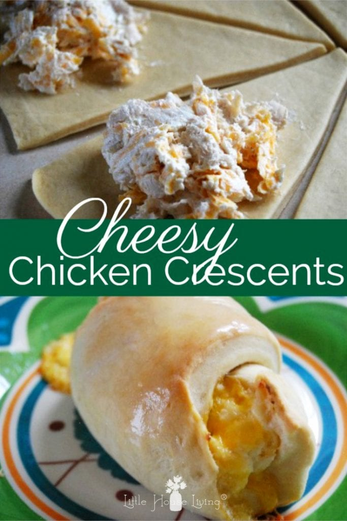 Need a delicious comfort food or an easy freezer meal? Your family will love Cheesy Chicken Crescents! Deliciously cheesy and easy to make and pop in the freezer to have on hand for quick meals! #cheesy #chicken #chickenrecipe #freezermeal #recipes #easyrecipes #chickencrescents