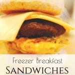 Are you looking for a quick breakfast on the go? These Freezer Breakfast Sandwiches are easy to make and put away so that you can always enjoy a deliciously healthy, hearty and homemade breakfast. #freezermeals #freezerbreakfastideas #freezerbreakfastsandwiches #breakfastsandwiches