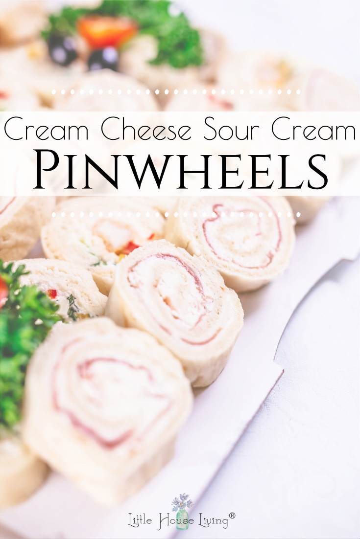 Need a super easy appetizer to make for your next get together? These Cream Cheese Sour Cream Pinwheels will be the hit of the party!