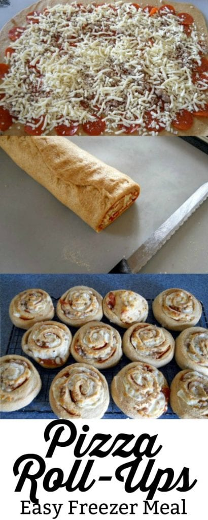 This Pizza Roll Ups recipe is a great freezer meal that the whole family will love!  #freezermeal #pizza #pizzarecipe #freezerrecipe #familyrecipe #pizzarollups #pizzarolls