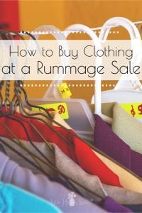 Love to shop at rummage sales or yard sales? Me too! Here are some of my best tips on how to find excellent deals when frugal clothes shopping at rummage sales. #frugalclothesshopping #frugalclothing #thriftyclothing #rummagesales