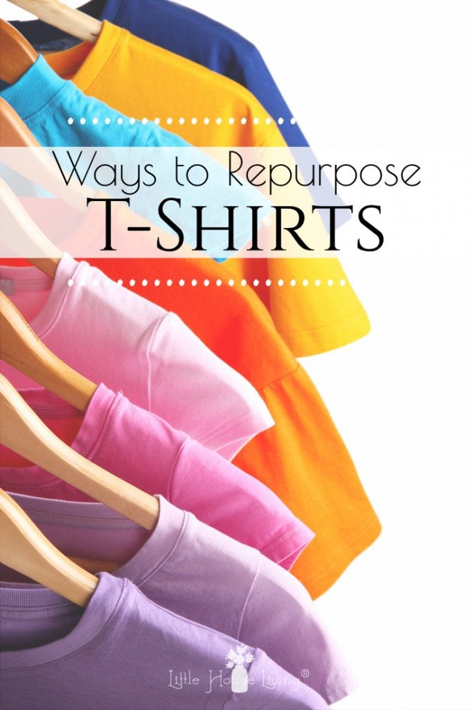Do you have several old or outgrown t-shirts laying around? Don't toss them or donate them just yet, find several ideas for repurposing T-Shirts to give them new life! #upcycle #repurpose #repursingtshirts #DIY #repurposeoldshirts