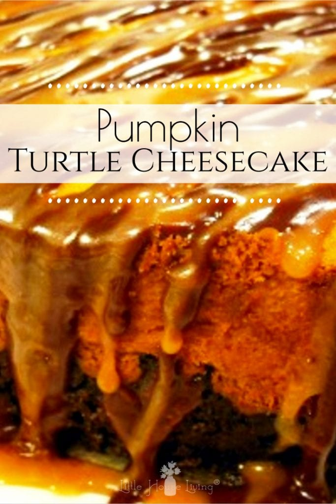 This year consider skipping the traditional pumpkin pie and wow your guests with this easy and delicious Pumpkin Turtle Cheesecake! #cheesecake #pumpkinturtlecheesecake #pumpkincheesecake #bestcheesecake