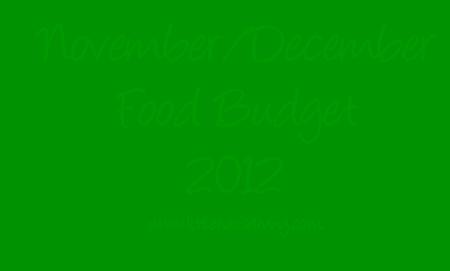 Post image for November/December 2012 Food Budget