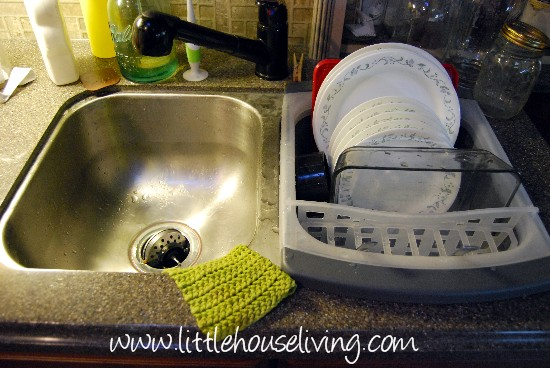 A View Of My Entire Sink With The Dish Drainer In It.