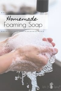 Want to make your own hand soap and save money on it too? We've been making and using this homemade Foaming Hand Soap for many years and we love it! #foaminghandsoap #homemadesoap