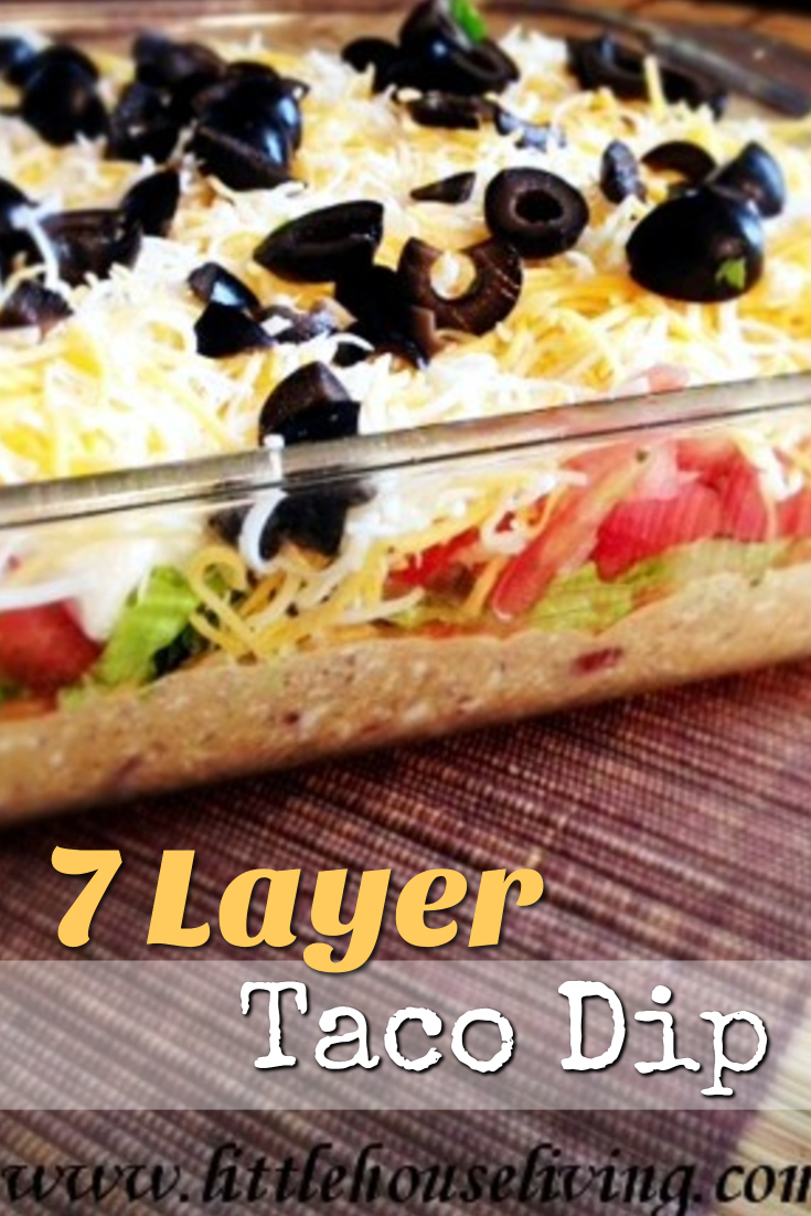 7 Layer Taco Dip is a delicious appetizer, potluck food, or even a whole meal in its own. Great for any time of year and perfect for the whole family! #7layerdip #tacodip #tacorecipe #homemade7layerdip #tacos