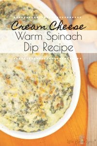 This delicious Cream Cheese Spinach Dip recipe is a wonderful way to use all of the fresh in-season spinach. Even if you don't have any in your garden, you should be able to easily find the ingredients for this recipe to make a perfect afternoon snack. #spinachdip #creamcheesedip #creamcheesespinchdiprecipe