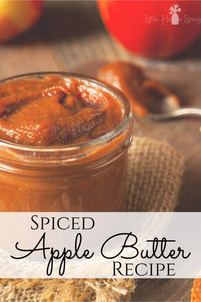 Looking to bottle up your favorite fall flavors to enjoy year round? This Spiced Apple Butter Recipe is simple but so scrumptious, sure to be a new family favorite! #fall #fallrecipes #applebutter #spicedapplebutter