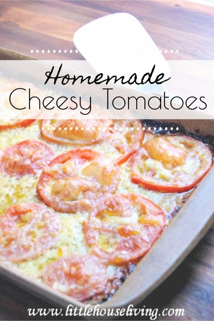Looking for a delicious recipe for your fresh garden tomatoes? These Cheesy Baked Tomatoes are a wonderful addition to any meal. #freshvegetables #tomatoes #tomatorecipes #simplesidedish