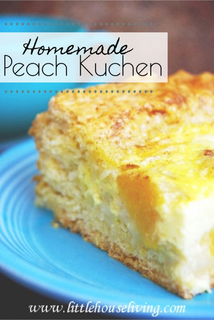 Growing up, Traditional German Kuchen was served at every family get together. This Peach Kuchen Recipe was one of my favorites, learn how to make it from scratch just like Granny did. #traditionalgermanrecipe #peachkuchen #kuchenrecipe #recipesfromscratch