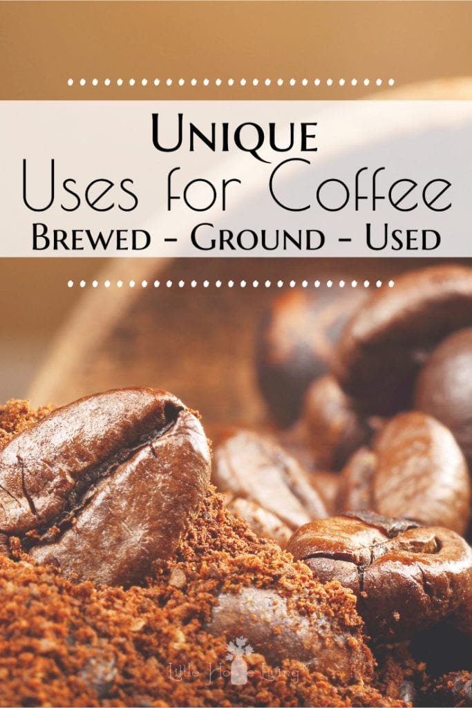 There are many frugal uses for coffee, aside from your morning cup of brew. Find unique ways to use brewed coffee, ground coffee, and used coffee grounds. #usesforcoffee #coffee #morethancoffee #waystousecoffee #oldcoffeeuses #coffeegrounduses #leftovercoffeeuses