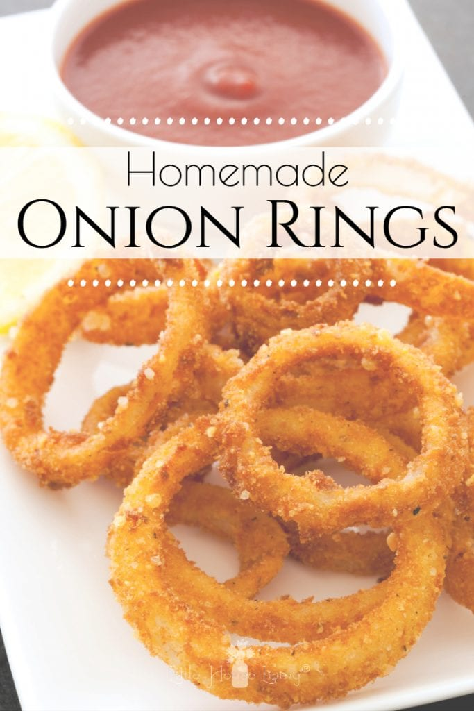 Do you love onion rings? Learn to make Homemade Onion Rings at home, from scratch that are just as good (or better) than the ones you love from the restaurant! #homemade #fromscratch #homemadeonionrings #onionrings #freezerfriendly #makeahead