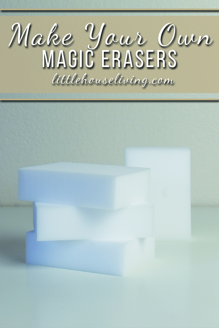 Can't stand the high price of Magic Erasers from the store? Even the store brand version seems to cost too much! Here's how to get a cheaper version and more.  #diy #homemadecleaners #makeyourown #homemademagicerasers #diymagiceraser