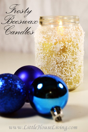 Frosty Beeswax Candles - Little House Living
