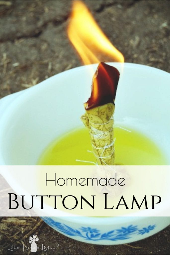 Learn how to make your own Simple Button Lamp like they did in The Long Winter. An easy and inexpensive source of light and fun craft! #buttonlamp #easydiy #simplebuttonlamp