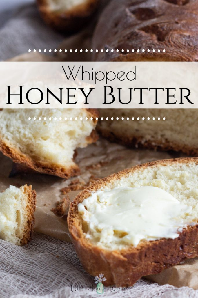Learn how to make honey butter with this simple and delicious whipped honey butter recipe! It's the perfect topping for biscuits, bagels, or other delicious treats! #honeybutter #homemade #makeyourown #whippedbutter