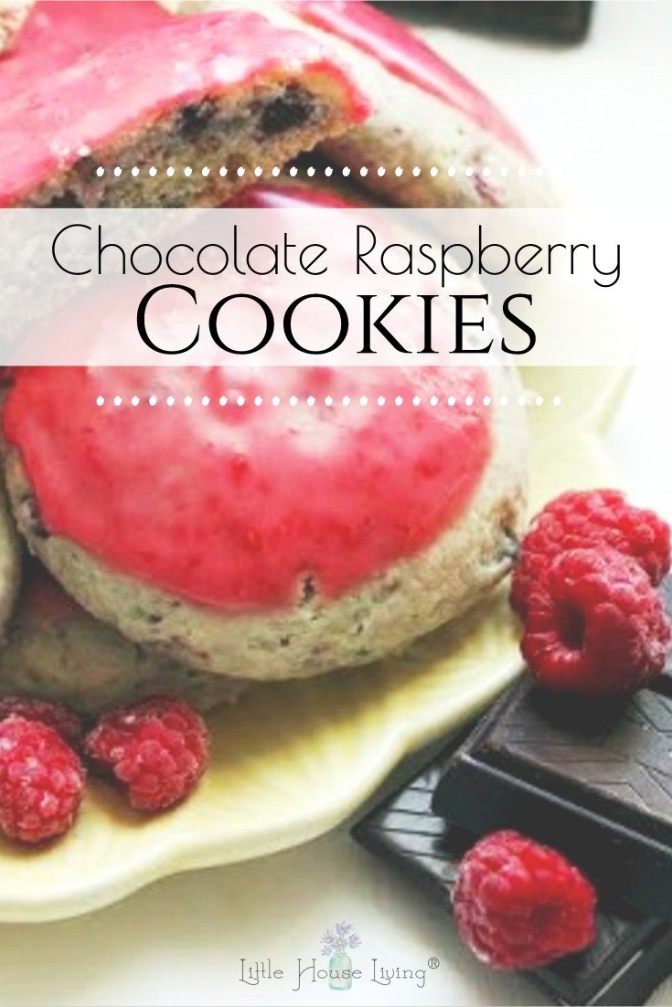 These Raspberry Chocolate Chip Cookies with a fresh, raspberry glaze are a great way to enjoy raspberries when they are in season! #homemadecookies #cookierecipes #raspberry #chocolatechip