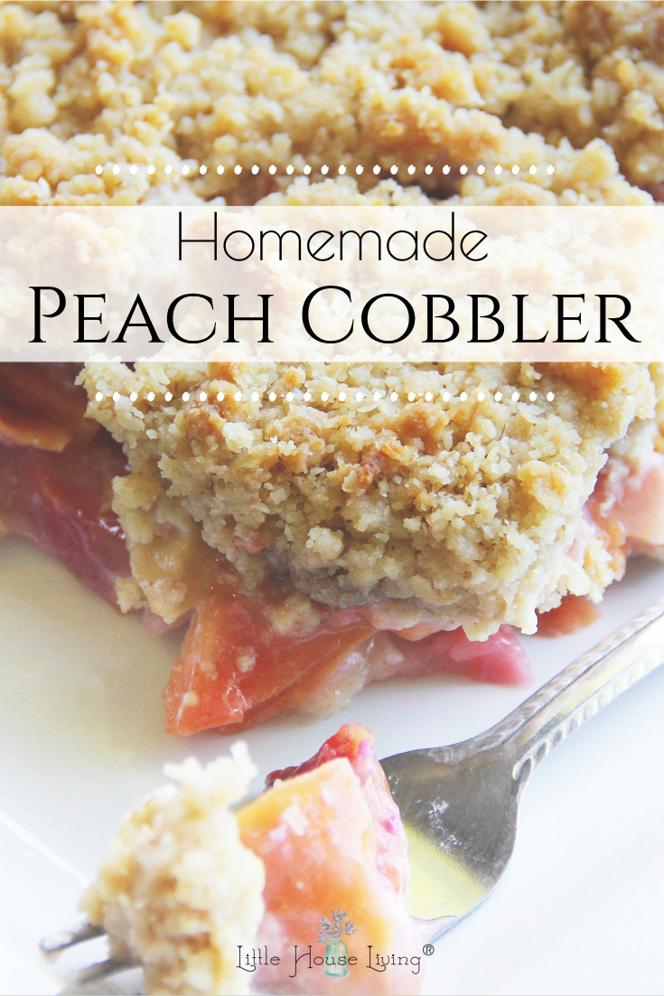 This simple and delicious Homemade Peach Cobbler is made in the slow cooker and can be enjoyed year-round! Easy to make and simple ingredients! #peachcobbler #slowcooker #crockpot #dessert