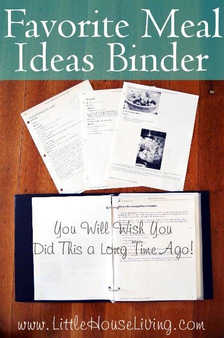 Favorite Meal Ideas Binder