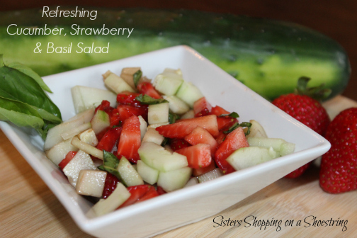 Post image for Using the Garden Veggies: Cucumber, Strawberry, and Basil Salad