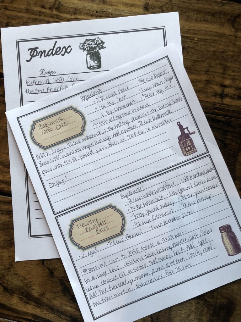 Meal Planning Binder Recipe Cards