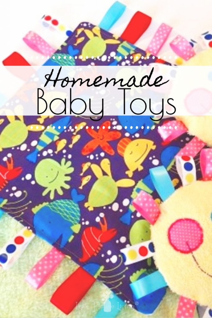 Learn how to make these adorable and frugal Homemade Baby Toys. This comfy tag blanket is sure to become your baby's favorite toy and soother! #homemadebabytoy #comfortblanket #easysewingproject #babygifts