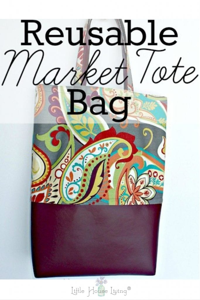 Are you looking for ways to help the environment and cut out using plastic bags? Sew your own Reusable Market Tote Bag with this easy tutorial! #ecofriendly #reducewaste #sewingproject #reusablemarkettote #diy #diymarkettote