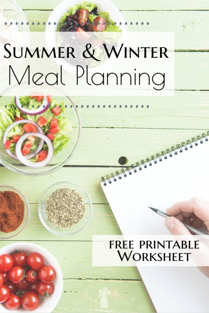 Have you ever heard of Summer and Winter Meal Planning? Learn about each to see what works best for you and get a free printable to help you plan for each! #mealplanning #weeklymealplanning #monthlymealplanning #mealplans #howtomealplan #seasonalmealplanning