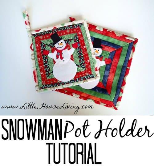 Snowman Pot Holder Sewing Pattern - Little House Living
