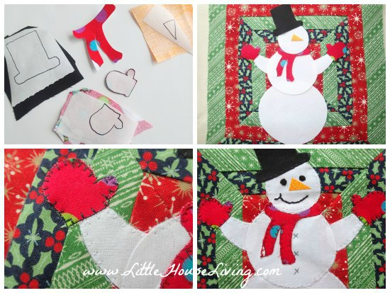Placing the Snowman on Your Pot Holder
