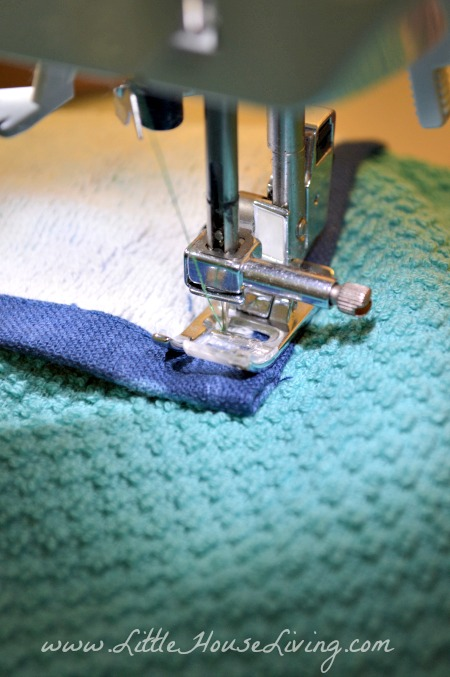 Sewing Dish Towel Apron Together