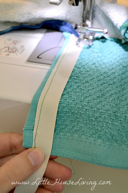Sewing Ties on Dish Towel Apron