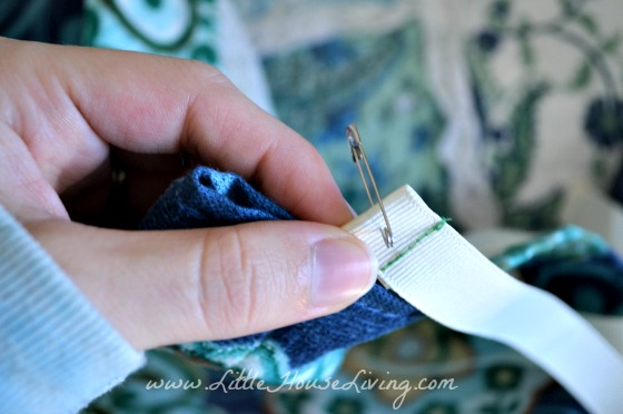 Stringing the Top Tie on Dish Towel Apron