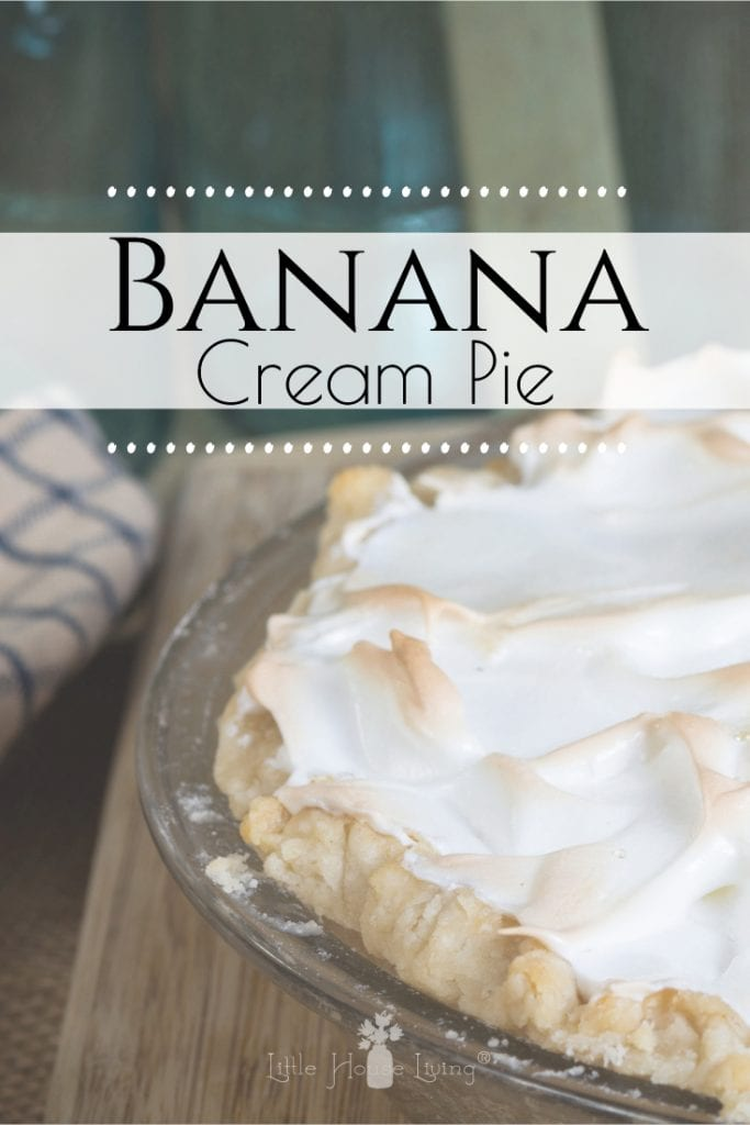 Do you love to enjoy a good homemade pie for dessert? This Banana Cream Pie recipe from scratch is delicious, easy to make and looks beautiful with a homemade meringue piled high on top. #bananacreampie #fromscratch #homemade #dessertfromscratch #homemadepie #homemademeringue