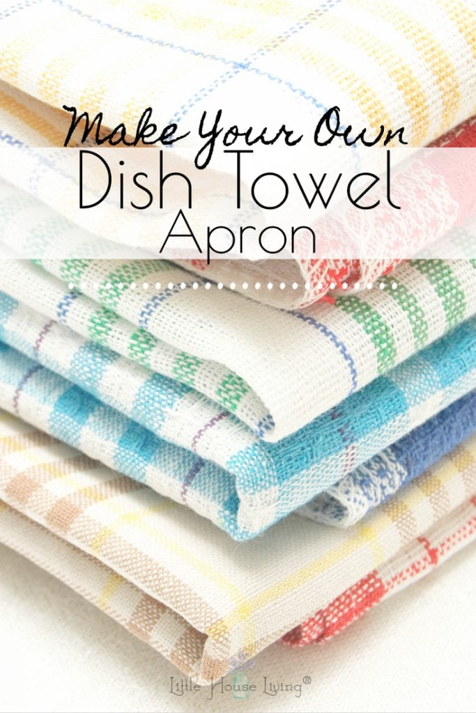 This little Dish Towel Apron is a fun project to try if you need a new apron for yourself, or if you are looking to make a cute and inexpensive handmade gift for the upcoming holiday season. #dishtowelapron #apronsewingpattern #freesewingpattern #easysewingtutorial