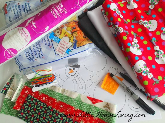 Materials for a Snowman Pot Holder Sewing Pattern