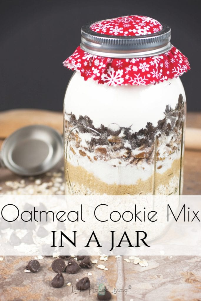 You can create this simple Homemade Oatmeal cookie Mix with basic pantry staples. It's a wonderful mix to have on hand for when you are craving cookies and it also makes a great gift! #oatmealcookies #cookiemix #cookiesinajar #giftsinajar #homemadegifts #frugalgifts #makeyourown