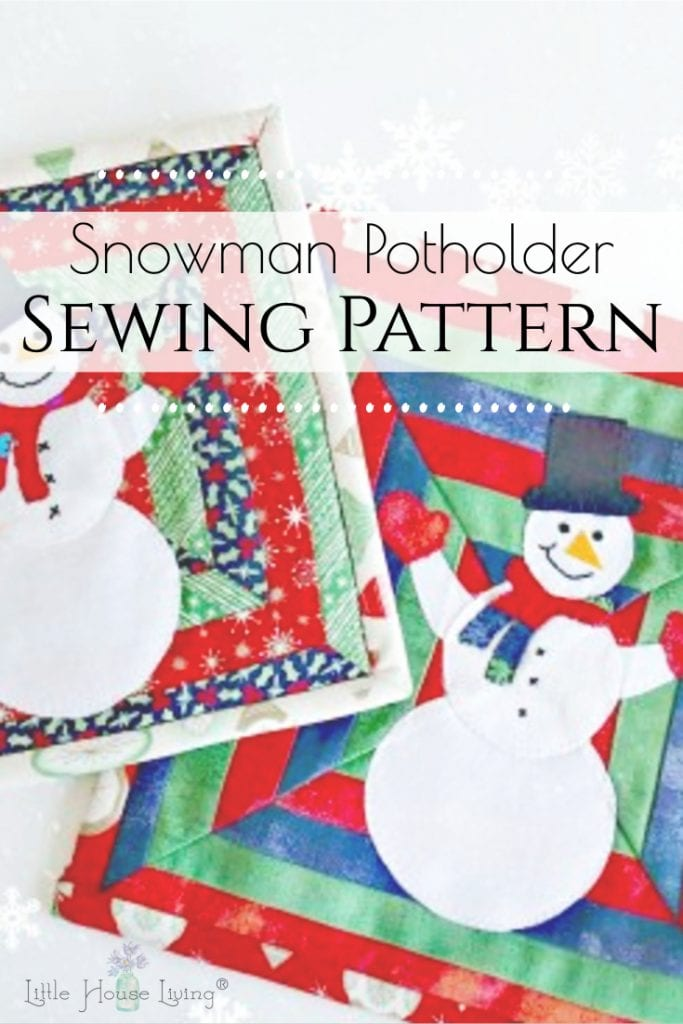 This adorable Snowman Pot Holder Sewing Pattern will look great in your kitchen this holiday season or use this free snowman pattern to make useful and cute Christmas gifts. #snowmanpotholder #freepotholderpattern #freesewingpatterns #christmasgifts #makeyourown