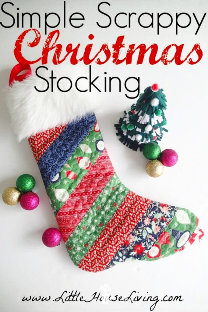 Looking to brighten up your mantle this Christmas? Learn how to make this beautiful, handmade quilted Christmas Stocking pattern with this step by step tutorial and free pattern. #christmas #christmasproject #christmasstocking #diychristmasstocking #freepattern